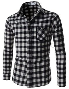(AL665-WHITE) Mens Slim Fit Button Down Check Pattern Chest Pocket Long Sleeve Shirts