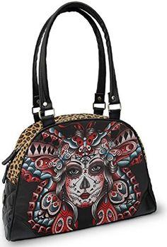 Liquorbrand Butterfly Tattoo Day of the Dead Sugar Skull Rockabilly Bag Purse $49.99