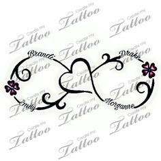 Tattoo with kids names | 4 kids name #280572 | CreateMyTattoo.com