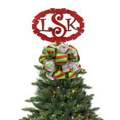 Squares Monogrammed Christmas Tree Topper