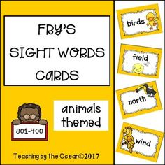 Fry's Sight Words Cards - Animals Themed (third hundred) Fry Sight Words, Sight Words List, Reading Resources, Math Resources, School Resources, Word Wall Displays, Sight Word Activities, Word Families, Literacy Centers