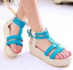 ENMAYER  New Arrival 2014 Sandals Summer Shoes Fashion Med Wedges Platform Shoes Casual Sandals $56.33