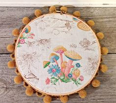Vintage Mushrooms Fabric Embroidery Hoop Art by LittleBohoCottage on Etsy $12.99