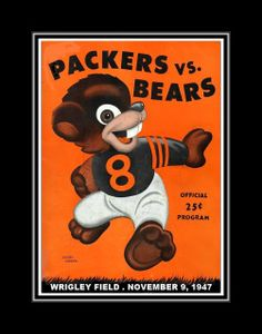1947 Game Program Cover Poster featuring Chicago vs Green Bay, Bears vs Packers Wall Decor. It is a great gift for any Chicago Bears or Packers fan.  This ready-to-frame wall art is printed to order on heavyweight semi-gloss photo paper. It is then inserted into a 100% archival safe, acid-free clear sleeve. Lastly, it is carefully packaged in a flat mailer to ensure safe delivery.  Buy with confidence. I stand behind everything I sell. If you are not satisfied with any aspect of your…