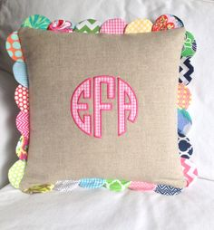 Scalloped Linen Circle Applique Pillow by peppermintbee on etsy