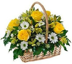 Choose Minkar for a change -- a basket of flowers with six Basket Flower Arrangements, Silk Arrangements, Beautiful Flower Arrangements, Flower Centerpieces, Flower Decorations, Beautiful Flowers, Easter Flowers, Fall Flowers, Diy Flowers
