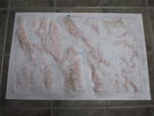 Death Valley California Nevada RAISED RELIEF Topographical MAP HUBBARD 1954 1970