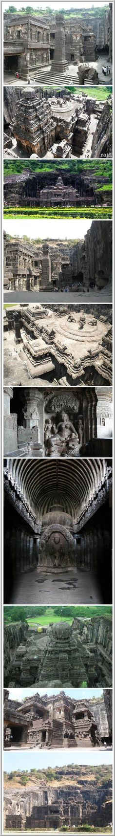 Ajanta & Ellora Caves: Cave Hindu temples of India. In the Indian state of Maharashtra is the village of Ajanta & Ellora with incredible Temples carved into the mountain Charanandri by ancient Indian architects & engineers. Ellora – the official World Heritage Site by UNESCO. The caves consist of 27 Hindu temples built during the 100BC – a sign of Hindu religious harmony that has prevailed in India.: