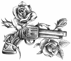 Guns n roses drawing Band Tattoos, Ribbon Tattoos, Rose Tattoos, New Tattoos, Sleeve Tattoos, 3 Roses Tattoo, Tatoos, Rose Drawing Tattoo, Tattoo Sketches