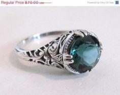 MOTHERS DAY SALE Emerald Gemstone Sterling Silver Filigree Engagement Ring/ Antique Vintage Art Deco
