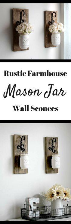 Rustic Farmhouse Mason Jar Wall Sconce   Rustic Home Decor   Mason Jar Sconce   Hanging Mason Jars #ad #masonjar #masonjarcrafts #rusticdecor #rusticfarmhouse #walldecor #wallhanging