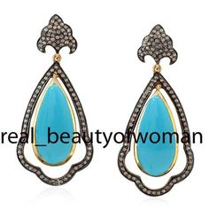 Vintage Inspired 3.83cts Rose Cut Diamond Turquoise .925 Silver Earrings Dangler #realbeautyofwoman