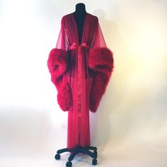 "Lush Vintage-Style Marabou-trimmed ""Rosalind"" Dressing Gown by Catherine D'Lish - Another colour example"