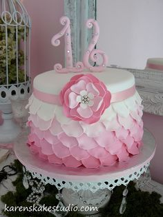 Sweet 16 by Karen's kakes, via Flickr. Maybe blue, green or yellow instead of pink