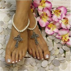 FAITH pearl cross barefoot sandals