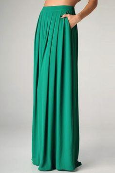 Freshine Kelly Green Chiffon Maxi Skirt.  Love that it has pockets.