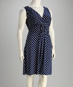 Take a look at this Navy & White Ring Dot Plus-Size Dress by Star Vixen on #zulily today!