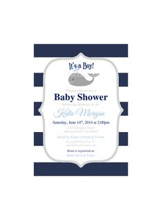 Nautical Boy Baby Shower Invitation Instant Download Whale Preppy Nautical Navy Stripes Printable Boy Shower Invitation DIY Editable on Etsy, $11.99