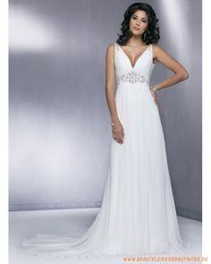 2013 Neue sexy Brautmode aus Chiffon V-Ausschnitt und Perlen Hochtaille