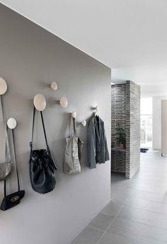 Grey walls and Muuto dots in the hallway. Read More by muuto. Grey walls and Muuto dots in the hallway. Decoration Hall, Entryway Decor, Entryway Storage, Wall Storage, Hallway Inspiration, Interior Inspiration, Feng Shui Apartment, Entry Hallway, Grey Hallway