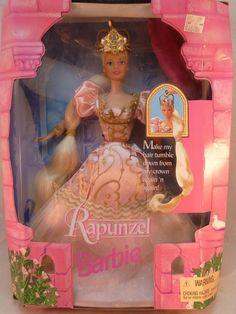 Rapunzel Barbie Doll Fairytale Pink Dress Crown 1997 Mattel Original Box 17646 #Mattel #Dolls