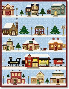 - Holiday Snow Village Block of the Month from Stitchin' Heaven, a Texas quilt shop. Pattern by Pam Bono House Quilt Patterns, House Quilt Block, Quilt Blocks, Quilting Projects, Quilting Designs, Quilting Ideas, Paper Piecing, Images Vintage, Winter Quilts