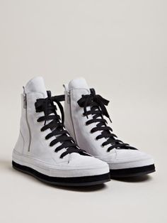 Ann Demeulemeester Men's Nubuck Hi-top Sneakers | omg they zip down BOTH sides