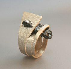 "Ring | Sofia Costa Gomes . ""Nature"". silver, white quartz with hematite"