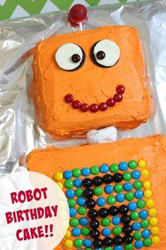 Robot Cake for a Robot themed Birthday Party - Mom vs the Boys 6th Birthday Cakes, Novelty Birthday Cakes, Homemade Birthday Cakes, Homemade Cakes, Boy Birthday, Birthday Parties, Birthday Ideas, Magic Birthday, Birthday Celebrations