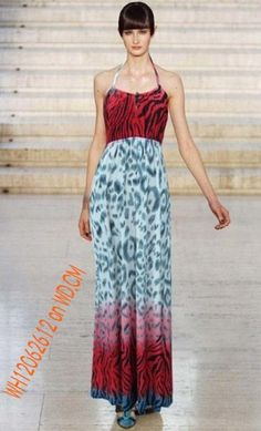 Fantastic Leopard Zebra Stripe Halter Maxi Dress $9.46 free tax on WD.CM