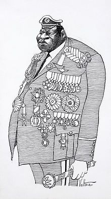 uganda 1977 - A 1977 caricature of Amin in military and presidential attire by Edmund S. Valtman