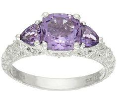 Judith Ripka Sterling Three Stone Gemstone Ring - J320137 — QVC.com