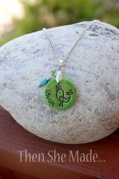 Green Bird Laugh Pendant Necklace