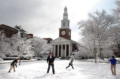A snowball fight outside of Memorial Hall in March!