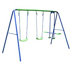 Outdoor Baby Toys Childrens Folding Swing Baby Swing Set with 2 baby swing & Seesaw, Best Birthday Chrismas gift - Rattan Furniture SHOP UK Interior Furniture Baby Swing Set, Swing Sets For Kids, Kids Swing, Play Swing, Toddler Playground, Backyard Playground, Outdoor Garden Furniture, Rattan Furniture, Metal Swing Sets