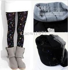 Wholesale Personality Spray paint graffiti bamboo charcoal double layer warm Leggings, $6.21-7.07/Piece | DHgate
