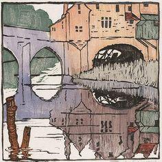 Beautiful woodblock, and a place i'd like to visit in the UK. Ethel Spowers (Australia Title Elvet Bridge-Durham, woodcut on paper Art Deco Illustration, Graphic Design Illustration, Illustrations, Wood Engraving, Art Graphique, Australian Artists, Woodblock Print, Japanese Art, Printmaking