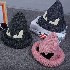 $7.70 (Buy here: https://alitems.com/g/1e8d114494ebda23ff8b16525dc3e8/?i=5&ulp=https%3A%2F%2Fwww.aliexpress.com%2Fitem%2FAutumn-winter-fashion-hair-ball-children-woolen-hat-lovely-devil-eyes-knitting-hat-outdoor-warm-thermal%2F32782994913.html ) Autumn winter fashion hair ball children no brim  kniting cap crochet hat devil eyes knitting hat earmuffs knitted hat for just $7.70