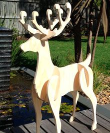 yard art figures at woodworkersworkshop outdoor christmas reindeer diy christmas yard art outdoor - Wooden Deer Christmas Decorations