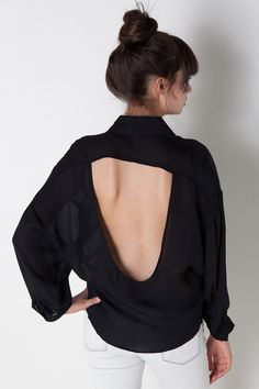 Open Back Top in Black by Donna Mizani for $258.00