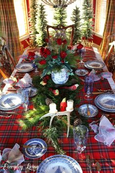 """A Christmas Tablescape & Birthdays """"And the Word became flesh and dwelt among us, and we have seen His glory, glory as of the only Son from the Father, full of grace and truth. Tartan Christmas, Spode Christmas, Blue Christmas, Country Christmas, Christmas Home, Christmas Holidays, Christmas Wreaths, Christmas Crafts, Christmas Ornaments"""