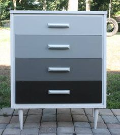 Mid Century Modern Ombre Dresser in grey tones Upcycled Furniture, Furniture Projects, Furniture Makeover, Painted Furniture, Home Furniture, Furniture Design, Diy Décoration, Furniture Restoration, Do It Yourself Home