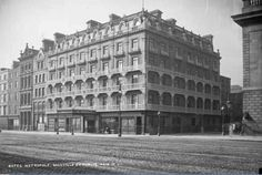 Architect: William Mitchell The Hotel Metropole was a landmark in Dublin, located next to the General Post Office building in O'Connell Street. Originally four Georgian buildings combined tog… Dublin Street, Dublin City, Ireland 1916, Dublin Ireland, Old Pictures, Old Photos, Irish Independence, Georgian Buildings, Ireland Homes