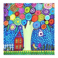 Flower Tree Landscape Folk Art Painting Shower Cur
