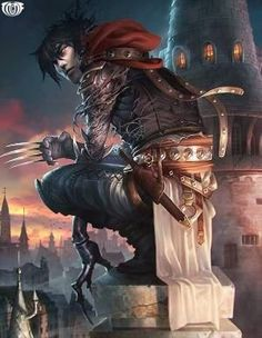 m Rogue Assassin Leather Claws rooftop City Artist: Zhou Kai aka watersullivan (Concept Art House) - Title: Unknown - Card: Kevin, Chief Assassin Fantasy Male, Fantasy Warrior, Fantasy World, Dark Fantasy, Fantasy Character Design, Character Concept, Character Art, Concept Art, Dnd Characters