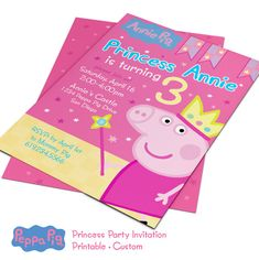 Peppa Pig Invitation Princess Pig Peppa by PartiPartieParty Invitacion Peppa Pig, Cumple Peppa Pig, 1st Birthdays, 3rd Birthday Parties, Third Birthday, Peppa Pig Birthday Invitations, Princess Party Invitations, Princess Tea Party, Pig Party