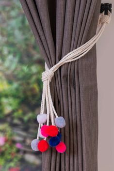 Handmade multi-color pom pom curtain tiebacks Christmas gift seasonal decor hold backs pom-pom pink red blue grey white nursery nautical Unique Curtains, Lined Curtains, Nautical Nursery, Nursery Decor, Gray Playroom, Grey White Nursery, Pom Pom Curtains, Rope Tie Backs, Monkey Fist Knot
