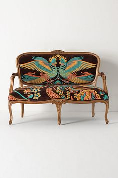 Regal Rooster Seating Louisa Settee by Catherine Martin is part of Furniture Louisa Settee by Catherine Martin Anthropologie& Louisa Settee by Catherine Martin features regal birds, intricately em - Funky Furniture, Furniture Design, Bohemian Furniture, Eclectic Furniture, Colorful Furniture, Accent Furniture, Silla Art Deco, Take A Seat, Home Furnishings
