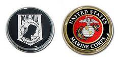 POW-MIA US Marine Corps USMC Emblem Set Military metal Chrome auto decal Set