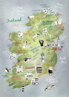 Ireland Map, Map of Ireland by Theresa Grieben, illustrated map art print of Ireland, art poster, road trip map Irland Landkarte. This is a high quality print of my hand drawn map of Ireland (and Northern Ireland). I illustrated the towns as well as the s Ireland Vacation, Ireland Travel, Traveling To Ireland, Ireland Hiking, Backpacking Ireland, Scotland Vacation, Dublin Travel, Travel Maps, Travel Destinations